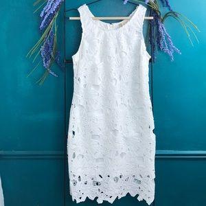 Japna white lace with underlay dress